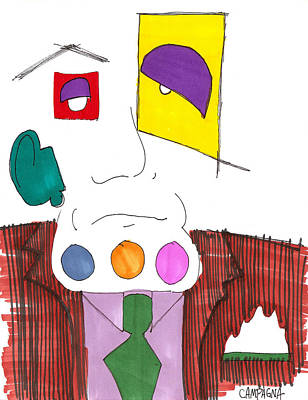Artist Marker Drawing - You Have Something On Your Chin by Teddy Campagna