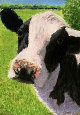 Pastel - You Looking At Me Cow Painting by Joan Swanson