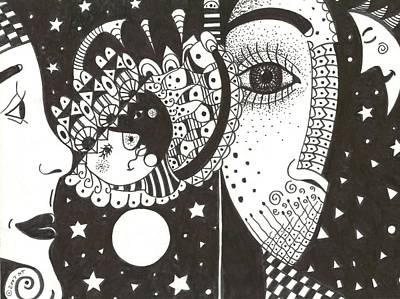 Micro Drawing - You Me The Stars And The Moon by Helena Tiainen