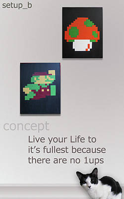Videogames Painting - You Only Get 1up by Jay Aitchison