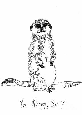 Meerkat Drawing - You Rang, Sir? by Denise Fulmer