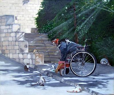 Wheelchair Painting - You Scratch My Back............ by Jane  Simpson