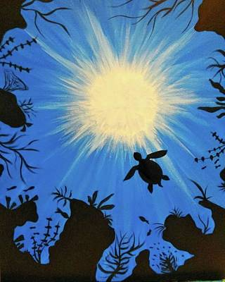 Blue Painting - Turtle Glow by Artist Jamari