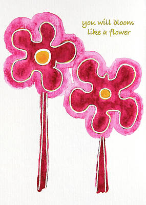 Art Print featuring the drawing You Will Bloom Like A Flower by Frank Tschakert