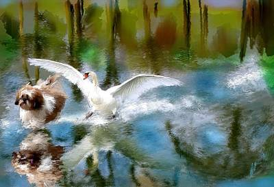 Swan Chase Digital Art - You Will Get Run Over by Richard Okun