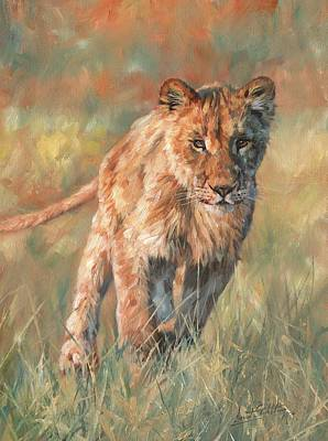 Print featuring the painting Youn Lion by David Stribbling