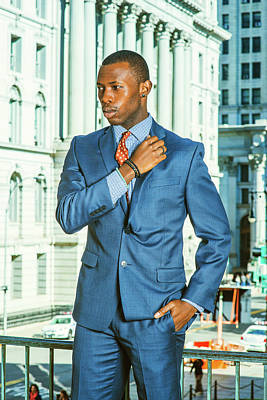 Photograph - Young African American Businessman Thinking Outsider Office In N by Alexander Image