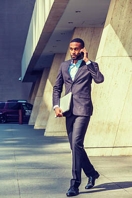 Photograph - Young African American Businessman Traveling, Working In New York 17052114 by Alexander Image