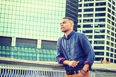 Photograph - Young African American Man Grown In Big City 15082328 by Alexander Image