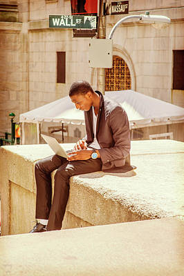 Photograph - Young African American Man Traveling, Working On Wall Street In  by Alexander Image
