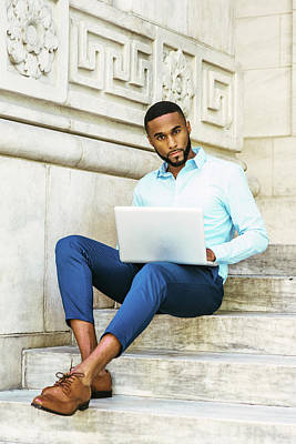 Photograph - Young African American Man With Beard Studying In New York 17052124 by Alexander Image