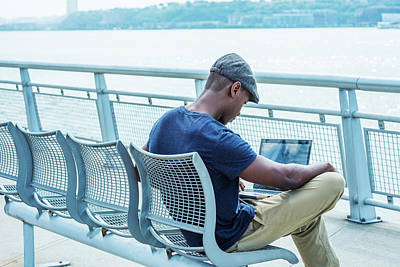 Photograph - Young African American Man Working On Laptop Computer Outdoor In New York 17061834 by Alexander Image