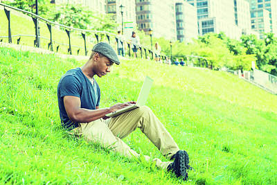 Photograph - Young African American Man Working On Laptop Computer Outdoor In New York 17061841 by Alexander Image