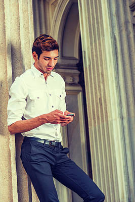 Photograph - Young American Businessman Texting Outside In New York by Alexander Image
