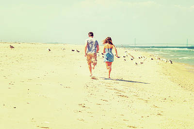 Photograph - Young American Couple Running, Relaxing On The Beach In New Jers by Alexander Image