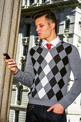 Photograph - Young American Man Texting Outside In New York by Alexander Image