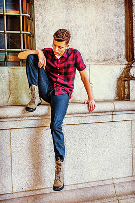 Photograph - Young American Man Thinking Outside In New York by Alexander Image
