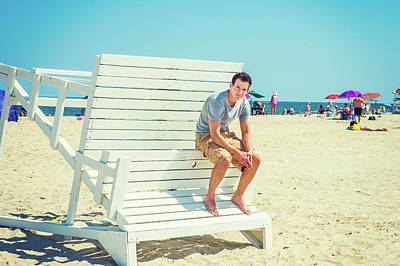 Photograph - Young American Man Traveling, Relaxing On The Beach In New Jerse by Alexander Image
