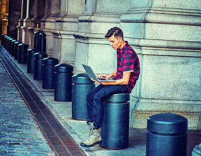 Photograph - Young American Man Working On Computer On Street In New York by Alexander Image