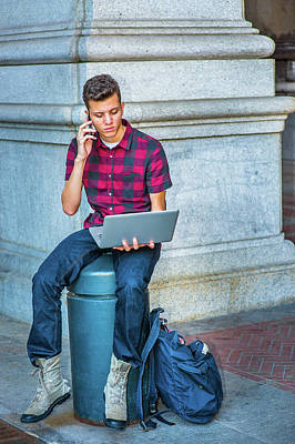 Photograph - Young American Man Working On Laptop Computer, Talking On Cell P by Alexander Image