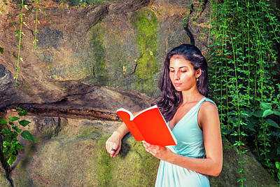 Photograph - Young American Woman Reading Book At Central Park, New York, In  by Alexander Image