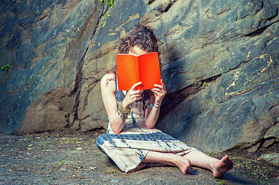 Photograph - Young American Woman Reading Red Book, Sitting On Ground, Thinki by Alexander Image