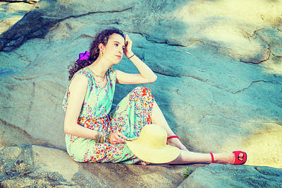 Photograph - Young American Woman Sitting Rocks At Central Park, New York, Re by Alexander Image