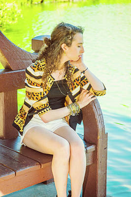 Photograph - Young American Woman Thinking By Lake, Relaxing, Traveling In Ne by Alexander Image