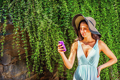 Photograph - Young American Woman Traveling, Texting At Central Park, New Yor by Alexander Image