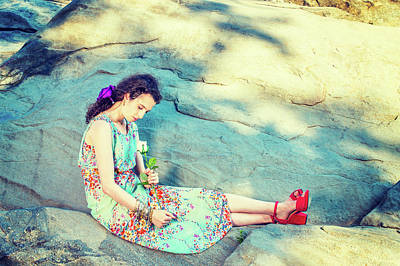 Photograph - Young American Woman With White Rose, Sitting On Rocks, Relaxing by Alexander Image
