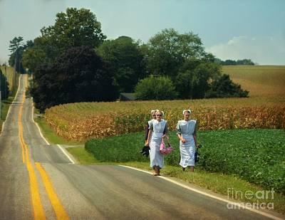 Photograph - Young Amish Woman Barefoot Stroll by Beth Ferris Sale