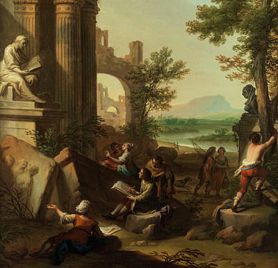 Landscape With Figure Painting - Young And Ancient Times Scientists On Roman Ruins by Andrea Locatelli