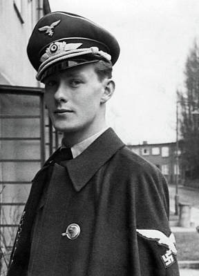 Ww2 Photograph - Young And Handsome German Luftwaffe Officer With Cloak by Charles Meagher
