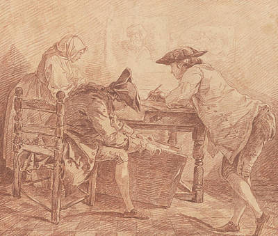 Drawing - Young Artists In The Studio by Hubert Robert