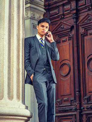 Photograph - Young Asian American Business Man Talking On Cell Phone Outside  by Alexander Image