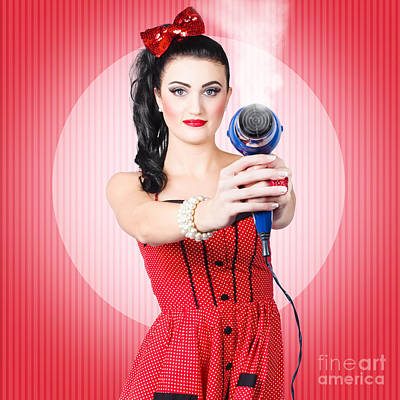 Photograph - Young Beautiful Girl With Hairdryer. Hair Care by Jorgo Photography - Wall Art Gallery