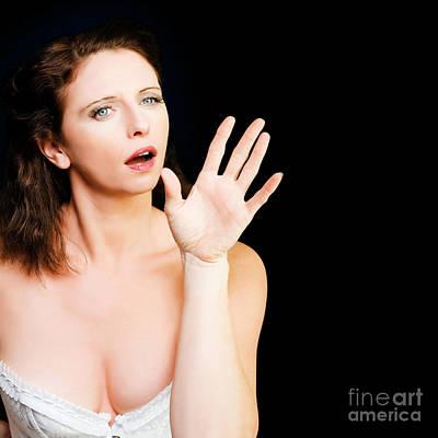 Young Beautiful Woman Miming In Silent Drama Art Print