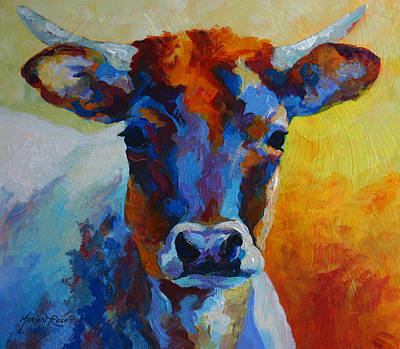 Ranch Painting - Young Blood - Longhorn by Marion Rose
