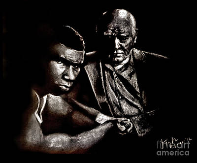 Drawing - Young Boxer And Soon To Be World Champion Mike Tyson And Trainer Cus Damato by Jim Fitzpatrick
