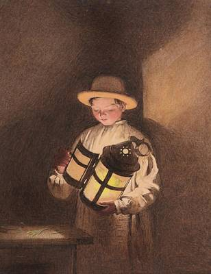 Night Lamp Painting - Young Boy Holding by Frederick Thomas