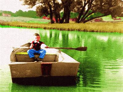 Digital Art - Young Boy Rowing A Boat by Cliff Wilson