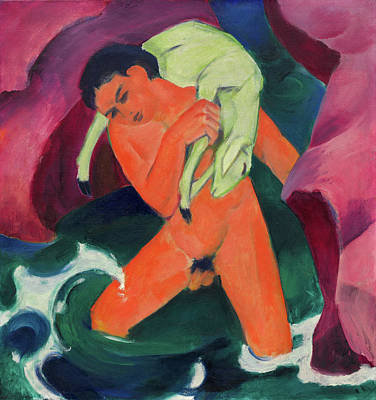Nude Painting - Young Boy With A Lamb, The Good Shepherd by Franz Marc