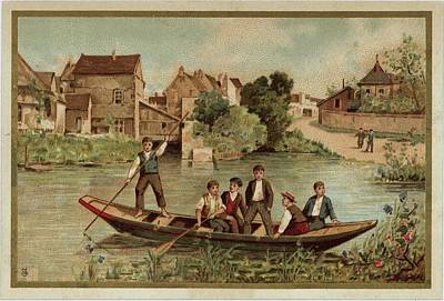 Young Boys On Riverboat Landscape Art Print by Gillham Studios
