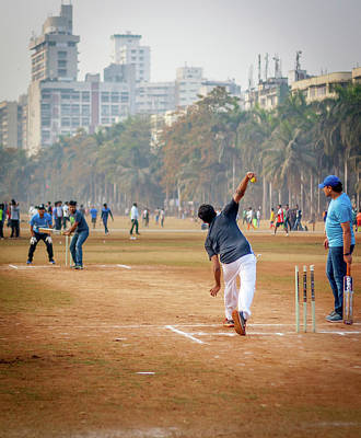 Young Boys Playing Cricket With Tennis Ball At Mumbai Grounds Art Print