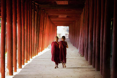 Young Buddhist Monk Walking And Reading Art Print