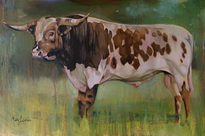 Steer Painting - Young Bull by Mary Leslie