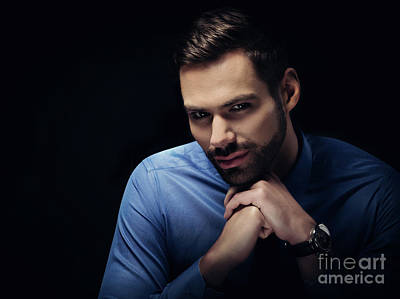 Photograph - Young Businesman Portrait On Black Background by Michal Bednarek