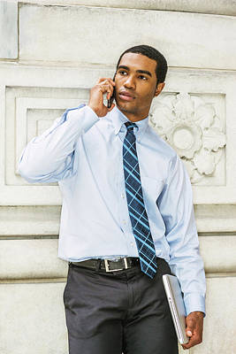 Photograph - Young Businessman Calling Outside 17051413 by Alexander Image