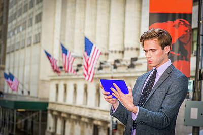 Photograph - Young Businessman Reading Tablet Computer On Street In New York 15041211 by Alexander Image