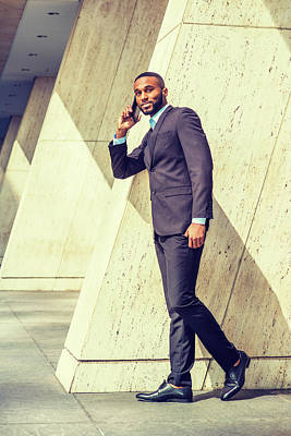 Photograph - Young Businessman Talking On Cell Phone Outside In New York 1705217 by Alexander Image